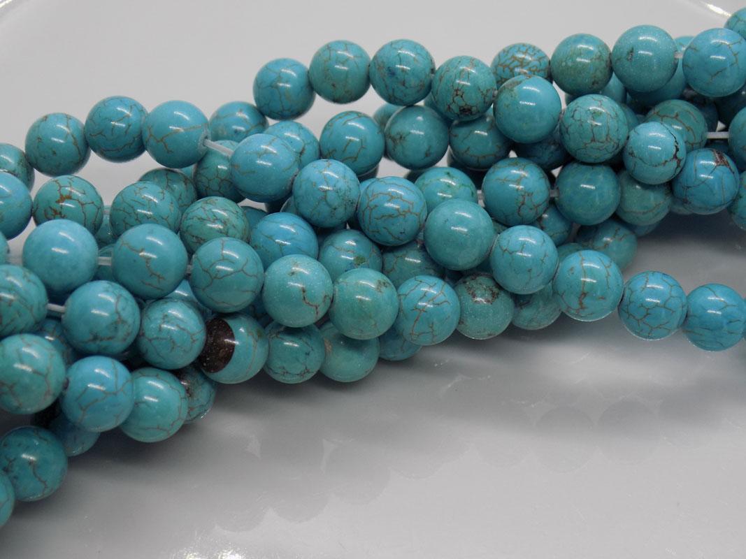 Boucles d/'oreilles Turquoise Perles rondes 8 mm