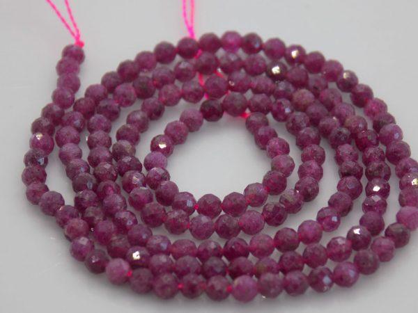 Rubis rose facettes, dimension perles 2*3 mm
