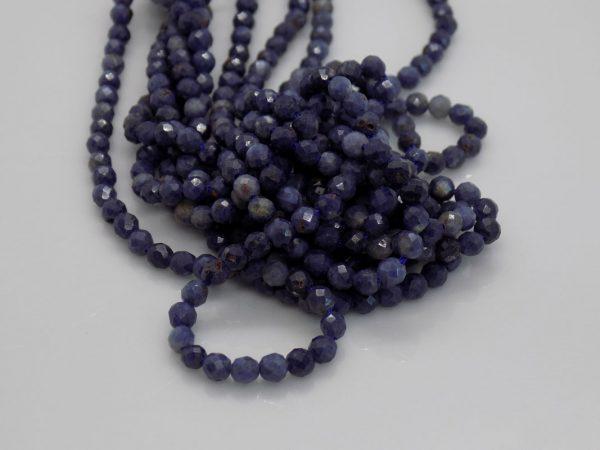 Saphir bleu facettes, dimension perles 2*3 mm