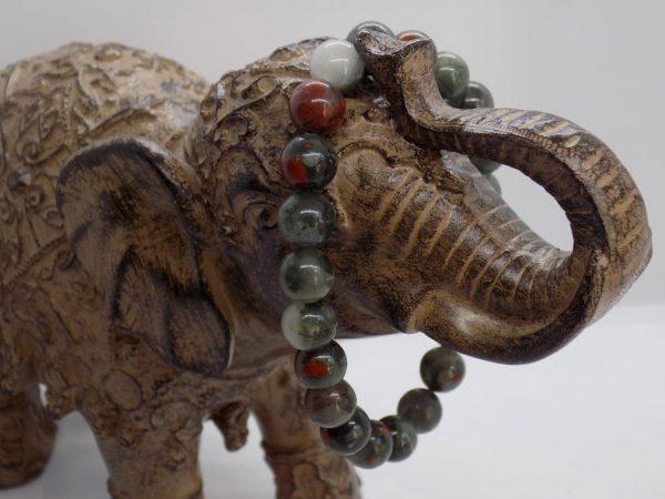 bracelet perle jaspe vert marron 18 cm