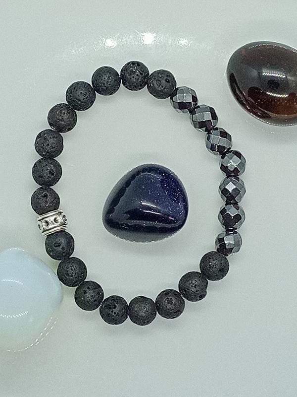 Bracelet Équilibre en perle d'Hématite et pierre de lave