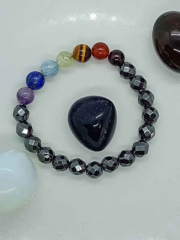 Bracelet des 7 chakras et perles d'Hématite
