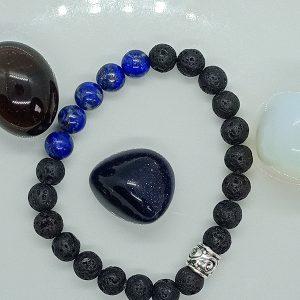 bracelet Amitié en Lapis Lazuli et pierre de lave