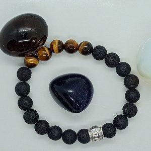 bracelet courage en œil de Tigre et pierre de lave