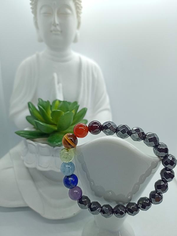 Bracelet 7 chakras et Hématite