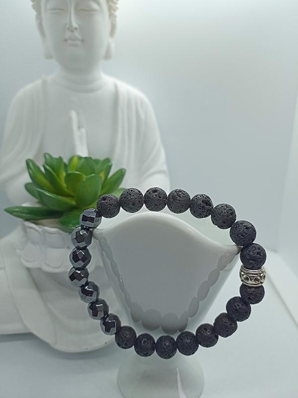 Bracelet Équilibre en Hématite et pierre de lave