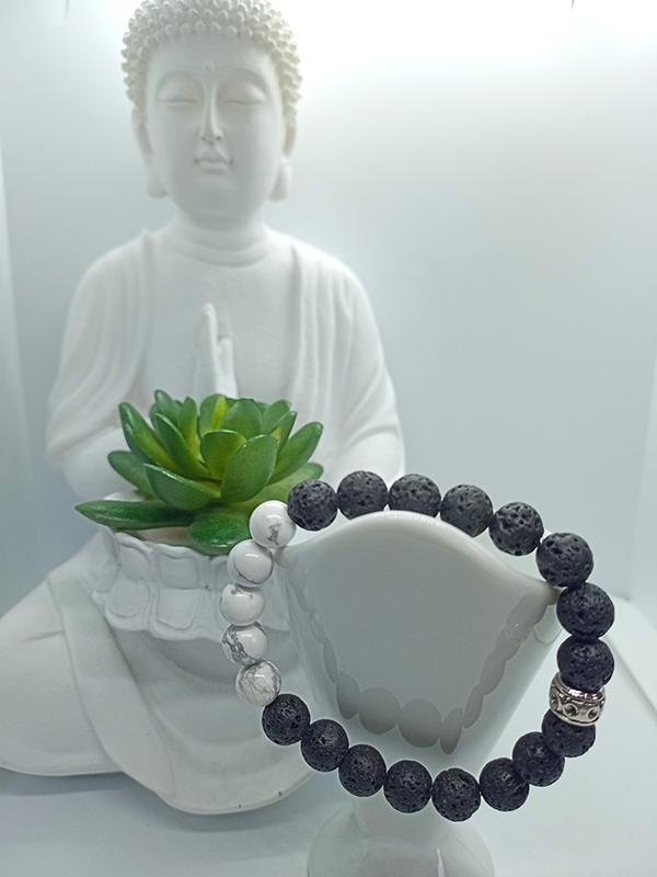 bracelet Harmonie en Howlite et pierre de lave