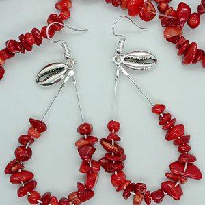 Boucles d'oreilles en corail rouge naturel