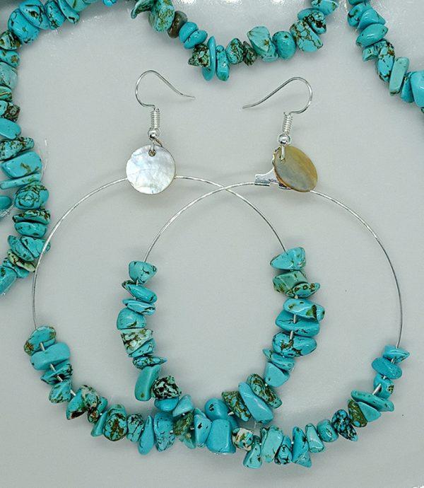 Boucles d'oreilles en pierre de Turquoise naturelle