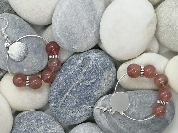 boucles d'oreilles quartz rose fraise