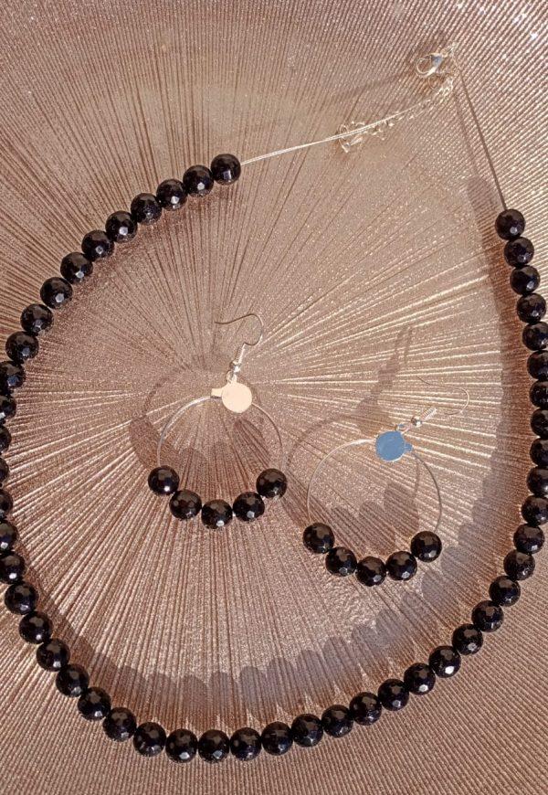 Boucles d'oreilles en perles d'Onyx naturel